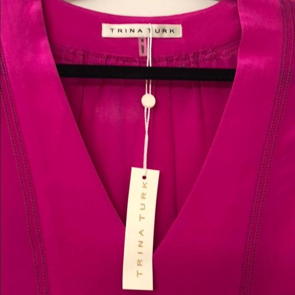 5eed5efaad49c7 NWT Trina Turk Pink Blouse 100% Silk Small  375